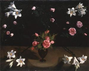 Lilies and thornless Roses in a Glass Vase. Master of the Veneration of Maria (ca. 1625).