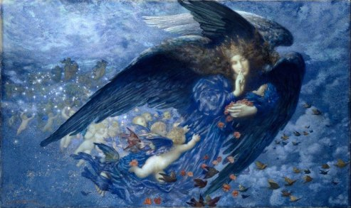Edward Robert Hughes, Night with her Train of Stars, 1912, Birmingham Museums and Art Gallery, watercolor
