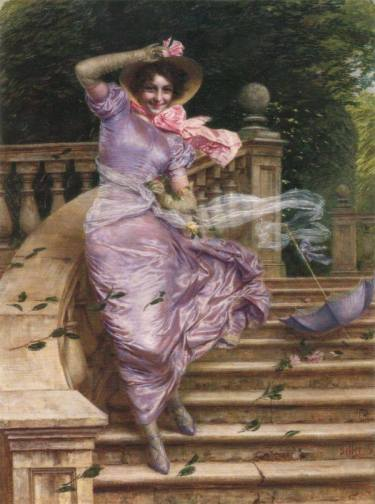 Gaetano Bellei (1857-1922), A Gust of Wind, 1902, private collection