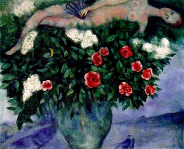 Marc Chagall. The woman and the roses 1929
